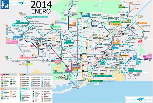 Mapa metro de Barcelona con ascensor para bebés, niños y minusválidos